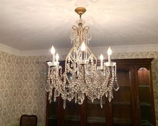"""Vintage Crystal Chandelier with Macaroni Beading, 6 lights, 25""""  - Gorgeous!  French?"""