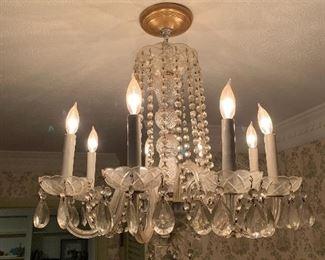 """Vintage Crystal Chandelier 6 Light, 22"""""""