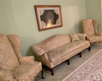 Camel Back Sofa and Wing Chairs