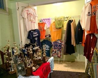 Amazing collection of vintage bowling shirts, trophies, patches, towels.  Plus other vintage letterman sweater, coats, etc