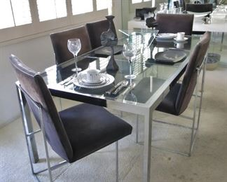 Classic Milo Baughman Mid-Century Chrome & Glass Dining Table w/ one Leaf, 6 Chairs
