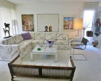 Time Warp Living Room: Square Sectional Sofa - SOLD!; Marcel Breuer Chrome Armchair - SOLD!,  McGuire-Style Bench, etc.