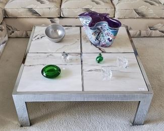 Pace Collection Chrome & Marble Square Coffee Table