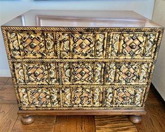 """$595 - John Widdicomb carved three drawer chest. 22""""H x 18""""D x 26.5""""W"""