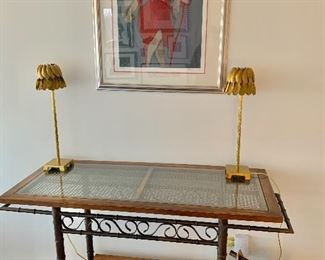 """$495 - Tea/bar cart on casters -  33""""H x 48.5""""W (55""""W with handles) x 20.5""""D LAMPS ARE SOLD"""
