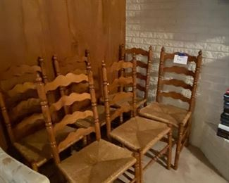 Ladder backed dining chairs, set of 6