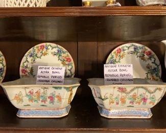 "Antique Chinese Altar Bowls - Republic Period -  ""Hundred Children Scene"""