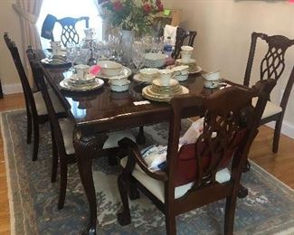 elegant, formal, Chippendale style dining table and chairs-, area rug