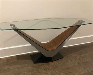 "MODERN  CONSOLE TABLE BY CALLIGIS                     64"" X 27.75"" X 19""                                                               CHERRY, BRUSHED METAL &  BONDED GLASS                                                           EXCELLENT CONDITION.      PURCHASED AT BOVA"