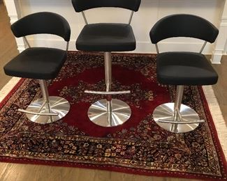 "BEAUTIFUL  ADJUSTABLE HYDRAULIC BAR STOOLS     SEAT ADJUSTS FROM  22"" - 31.5""                 PURCHASED AT ITALIA                                          EXCELLENT CONDITION"