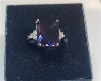 Sterling Silver Purple Amethyst Ring Size 5