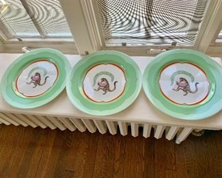 """$150 - Set of 3 whimsical large monkey themed plates by Lynn Chase - 12"""" diam."""