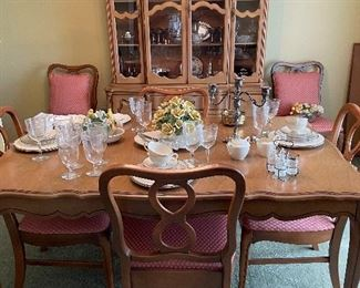 French style dining table, 8 chairs, china cabinet