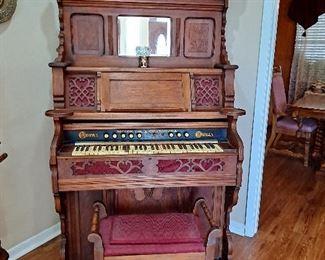 Antique Crown Pump Organ--Needs Work