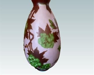 Large Galle French Etched Glass Vase