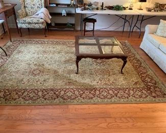 #2	Shaw Machine Made Rug Tan/Burgandy  92x130	 $65.00
