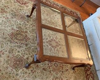 #3	Solid wood  Coffee Table w/4 Beveled Glass Inserts   38square x 16 Tall	$75