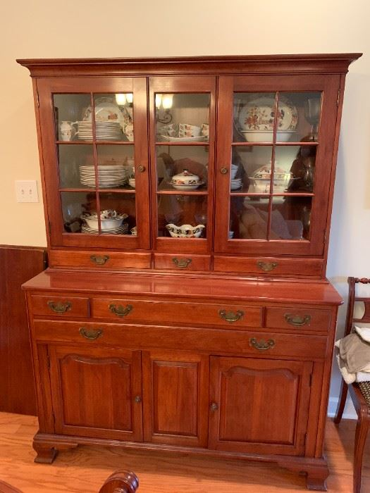 #1	Solid Cherry Willet China Cabinet w/7 drawers & Hutch Top w/Glass Doors & 2 doors   54x20x36-74	 $375.00