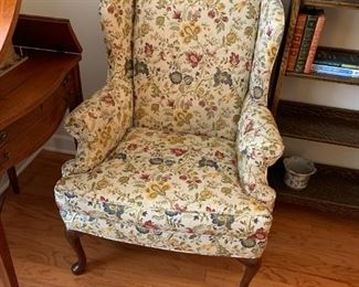 #10Cream/Gold/Blue Floral Wingback Chair  w/q/a Legs $75.00