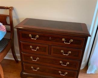#11	Drexel SideBurled  w/5 Drawers  w/inlaid Top  29x12x29	 $175.00