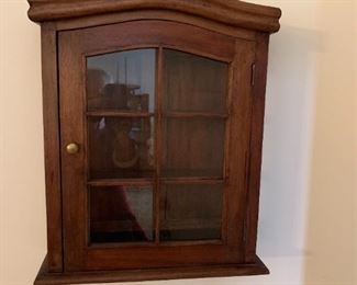 #12	Wood Display Cabinet w/Glass Doors   18x6x21.5T	 $75.00