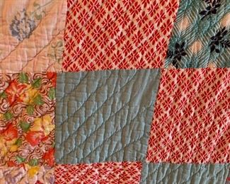 #18Scrappy Hand-Made Quilt as is edges 66x7' $55.00