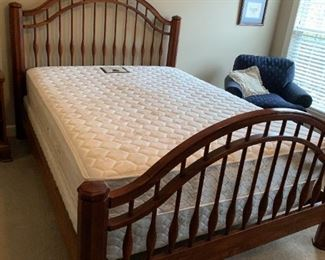 #21Bob Timberlake Curved Spindle Queen Headboard/Footboard $300.00  #22Sterns & Foster Queen Size Mattress/Boxsprings $100.00