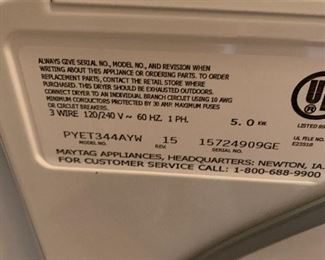 #38Maytag Dryer (right swing) PYET344AYW $100.00