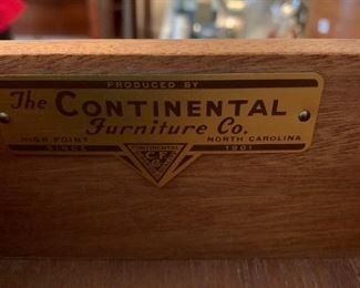 #51The Continental furniture Co. w/glass protect on top Chest of 6 curved drawers  39Wx21Dx49T $275.00