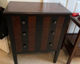 #533 drawer End Table w/Black Stripe on Front  25Wx14Dx31T $75.00