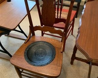 #64Antique Wood Chair w/leather Seat - oak $35.00