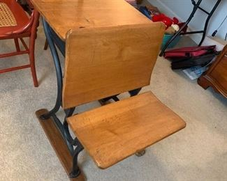 #65Wood/Iron School Desk (can be used as a night table)  20.5x28x27 $50.00