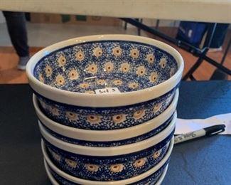 #90Boleslawiec Polish Pottery Set of 5 Bowls  $35.00