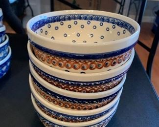 #91Boleslawiec Polish Pottery Set of 5 Bowls  $35.00