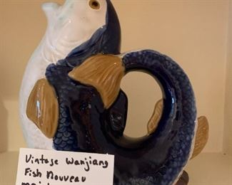 #96Vintage Wanjiang Fish Nnouveau Majolica CBK 1991 China Fish Pitcher Signed $30.00