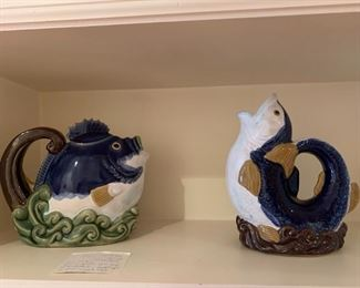 #95CBK 1991 LTd. Nouveau  Majofa Blue Fish Tea pot/Pitcher Wanjang China signed $30.00  #96Vintage Wanjiang Fish Nnouveau Majolica CBK 1991 China Fish Pitcher Signed $30.00