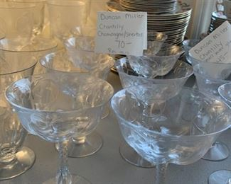 #107Duncan Miller Chantilly Iced Tea Goblets - set of 15 $150.00  #108Duncan Miller Chantilly Small  set of 11- as is $60.00  #109Duncan Miller Chantilly Water Goblets - set of 15 - as is $150.00  #110Duncan Miller Chantilly Champagne/Sherbert - set of 8 - as is $70.00  #111Duncan Miller Chantilly small Wine Glass - set of 7 - as is $45.00