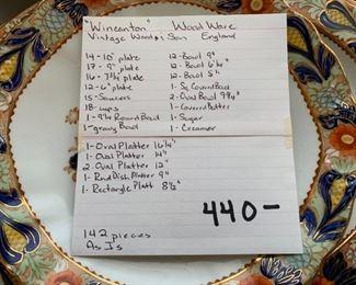 "#112""Wincanton"" WoodWare vintage Wood & Son England 142 pcs. As is $440.00"