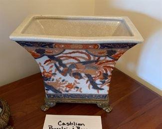 #114Castilian Porcelain & Brass Vase $75.00
