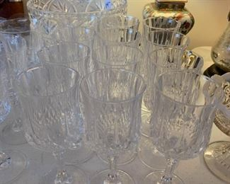 "#116J.G. Durand Crystal Longchamps Stemware set of 12 6.5"" $50.00  #117J.G. Durand Crystal Longchamps Stemware set of 7 6.25"" $35.00"