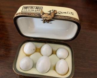 #120Limoges Egg Carton w/eggs Trinket Box  $75.00