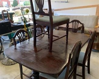 #128Antique Double Pedistal Dining Table w/6 chairs (1 captains chair)  (as is top)  69x40x30 $175.00