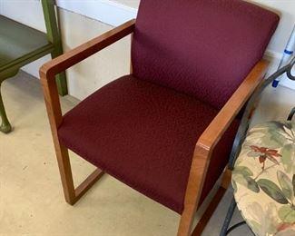 #130Odd Burgandy Side Chair w/arms $30.00