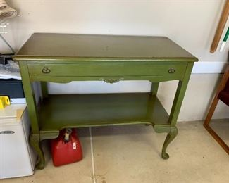#131Green-Painted Sideboard w/1 drawer   40wx18dx34T $75.00
