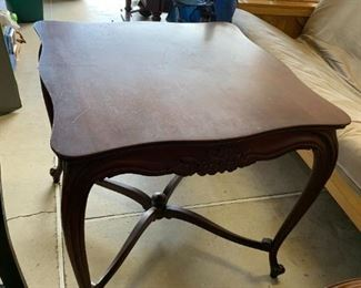 #135Wood Square End Table w/flowers carved on it   28wx27T $75.00