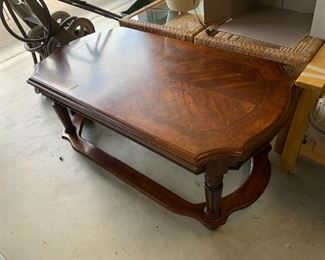 #137Coffee Table w/inlaid flowers on top  48wx25.5Dx20t $75.00