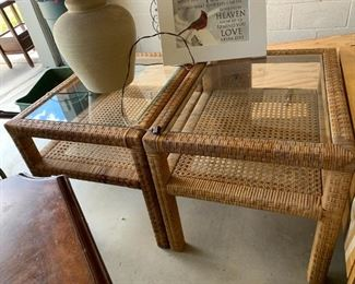 #138(2) Wicker End Tables w/glass Top  21wx26Dx21T   $30 each $60.00