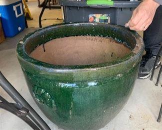 #148Green Clay Flower Pot   18.5x15 $30.00