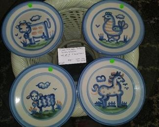 #163         Vintage M A Hadley Pottery - Country Collection dinner plates. Set of 4         $88