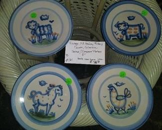 """#161         Vintage M A Hadley Pottery - Country Collection salad/dessert plates 9"""". Set of 4.       &80"""
